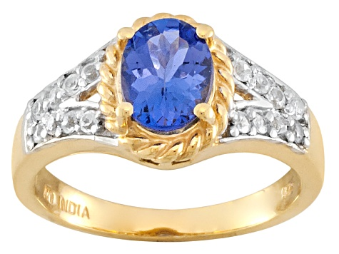 Blue Tanzanite And White Zircon 18k Yellow Gold Over Sterling Silver Ring 1.31ctw