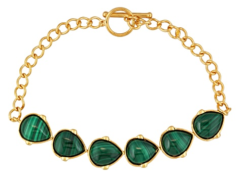 Green Malachite 18k Yellow Gold Over Silver Bracelet