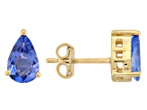 Blue Tanzanite 18k Yellow Gold Over Sterling Silver Earrings 1.54ctw