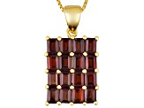 Red Garnet 18k Yellow Gold Over Sterling Silver Pendant With Chain 3.40ctw