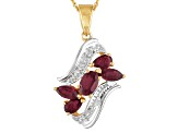 Red Ruby 18k Yellow Gold Over Sterling Silver Pendant With Chain 3.80ctw