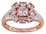 Pink Morganite And White Zircon 18k Rose Gold Over Sterling Silver Ring 1.28ctw