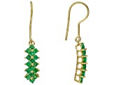Green Emerald 18k Gold Over Silver Earrings 1.32ctw