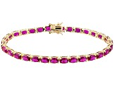 Red Lab Ruby 18k Yellow Gold Over Silver Bracelet 14.02ctw