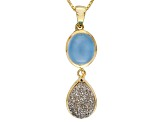 Platinum Color Drusy Quartz 18k Yellow Gold Over Sterling Silver Pendant With Chain