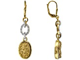 Golden Drusy Quartz 18k Yellow Gold Over Sterling Silver Earrings .19ctw