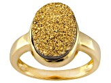 Golden Drusy 18k Yellow Gold Over Sterling Silver Ring