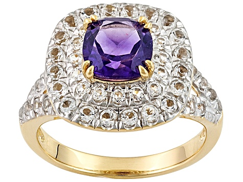 Purple Amethyst And White Topaz 18k Yellow Gold Over Sterling Silver Ring 2.23ctw