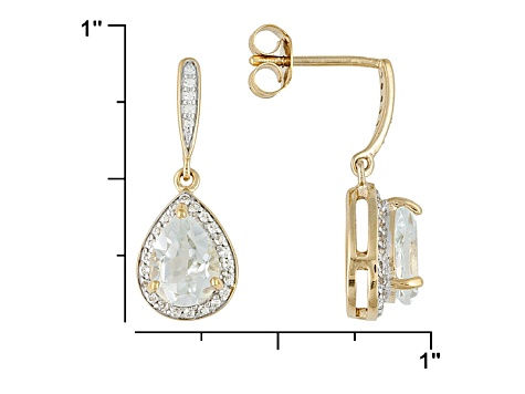 White Topaz 18k Yellow Gold Over Sterling Silver Earrings 2.66ctw
