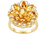 Yellow Citrine 18k Yellow Gold Over Silver Ring 3.70ctw
