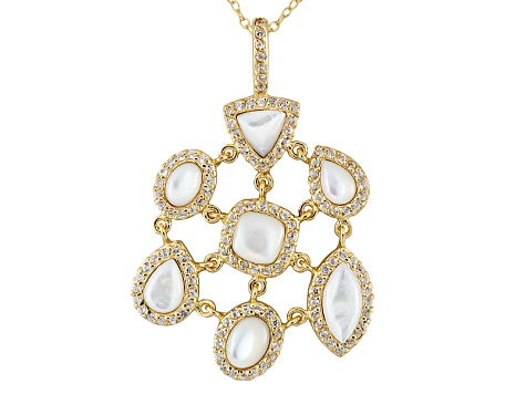 White Mother Of Pearl 18k Gold Over Silver Pendant With Chain 1.13ctw