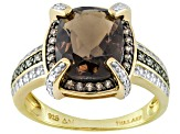 Smoky Quartz 18k Yellow Gold Over Silver Ring 2.43ctw