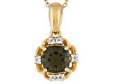 Green Moldavite 18k Gold Over Silver Pendant With Chain 1.17ctw