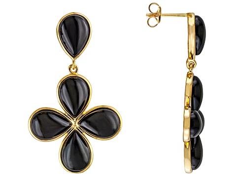Black Onyx 18k Gold Over Silver Earrings