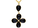 Black Onyx 18k Gold Over Silver Pendant With Chain.