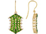 Chrome Diopside And White Zircon 18k Yellow Gold Over Silver Earrings 5.87ctw