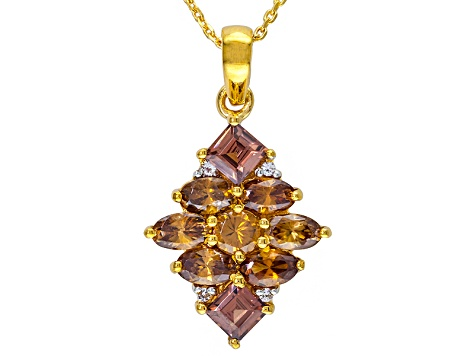 Imperial Zircon And White Topaz 18k Gold Over Silver Pendant With Chain 3.50ctw