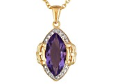 Purple Amethyst 18k Gold Over Silver Pendant With Chain 2.43ctw