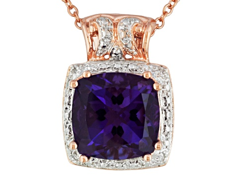 Purple Amethyst 18k Rose Gold Over Silver Pendant With Chain 5.73ctw