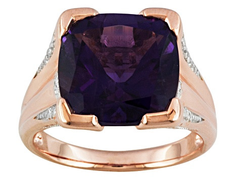 Purple Amethyst 18k Rose Gold Over Silver Ring 5.73ctw