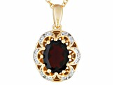 Red Garnet And Diamond 18k Gold Over Silver Pendant With Chain 2.25ctw