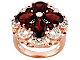Red Garnet, White Topaz And Diamond 18k Rose Gold Over Sterling Silver Ring 5.54ctw