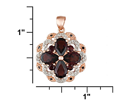 Red Garnet 18k Rose Gold Over Sterling Silver Pendant With Chain 5.54ctw