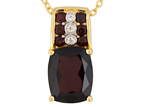 Red Garnet And White Topaz 18k Gold Over Silver Pendant With Chain 3.47ctw