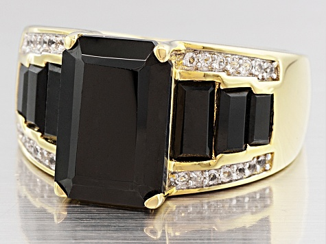 Black Spinel 18k Gold Over Silver Ring 5.57ctw