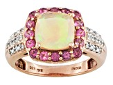 Ethiopian Opal, Pink Tourmaline And White Zircon 18k Rose Gold Over Silver Ring 1.57ctw