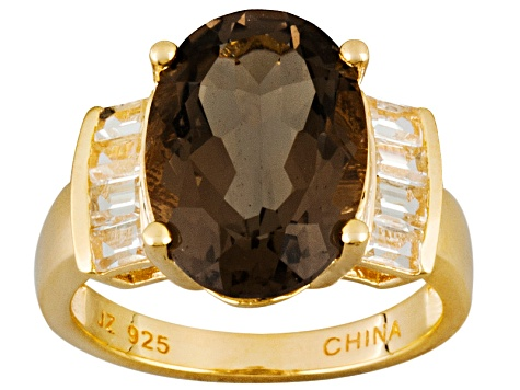 Brown Smoky Quartz 18k Yellow Gold Over Sterling Silver Ring 5.33ctw