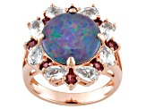 Blue Opal Triplet, White Topaz And Rhodolite 18k Rose Gold Over Sterling Silver Ring 2.25ctw