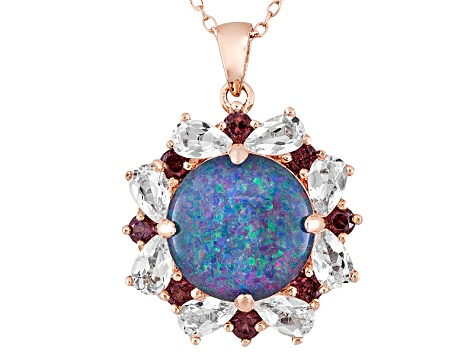 Blue Opal Triplet, White Topaz And Rhodolite 18k Rose Gold Over Silver Pendant With Chain 2.25ctw
