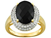 Black Spinel And White Topaz 18k Yellow Gold Over Sterling Silver Ring 5.99ctw