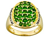 Chrome Diopside And White Topaz 18k Yellow Gold Over Silver Ring 1.82ctw