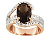 Brown Smoky Quartz And White Diamond 18k Rose Gold Over Silver Ring 3.26ctw