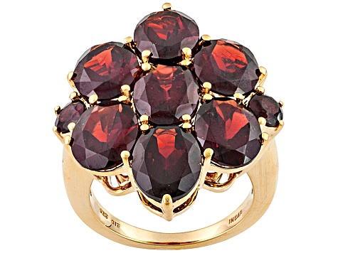 Red Garnet 18k Yellow Gold Over Sterling Silver Ring 15.09ctw