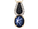 Blue Star Sapphire 18k Gold Over Silver Pendant With Chain 4.43ctw
