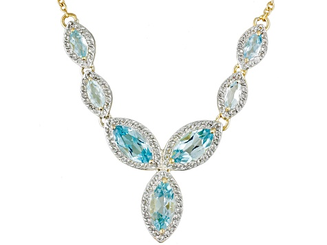 Blue Topaz 18k Yellow Gold Over Sterling Silver Necklace 6.63ctw