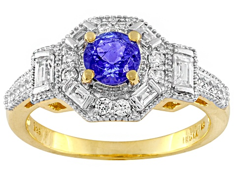 Blue Tanzanite And White Zircon 18k Gold Over Silver Ring 1.25ctw