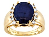Blue Sapphire And White Zircon 18k Over Sterling Silver Ring 4.92ctw.