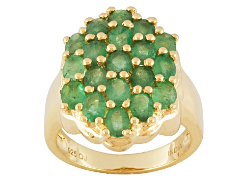 Green Emerald 18k Gold Over Silver Ring 3.14ctw
