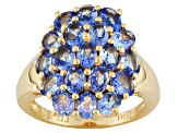 Blue Tanzanite 18k Gold Over Silver Ring 3.23ctw