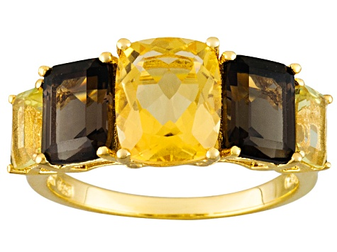 Citrine And Smoky Quartz 18k Gold Over Silver Ring 5.84ctw