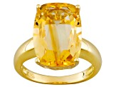 Yellow Citrine 18k Gold Over Silver Ring 7.05ct