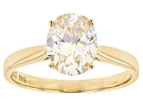 White Fabulite Strontium Titanate 14k Yellow Gold Ring 2.30ct