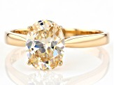 White Lab Created Strontium Titanate 14k Yellow Gold Ring 2.30ct