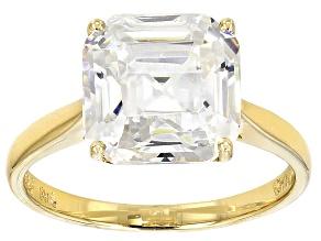 White Fabulite Strontium Titanate 14k Yellow Gold Ring 6.29ct