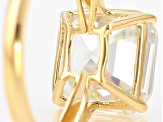 White Lab Created Strontium Titanate 14k Yellow Gold Ring 6.29ct