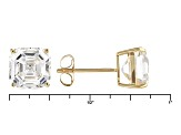 White Lab Created Strontium Titanate 14k Yellow Gold Stud Earrings 7.87ctw